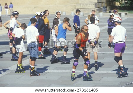 Group of Roller Bladers, Philadelphia Museum of Art, PA - stock photo