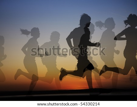 group of runners both male and female on the background of a beautiful sunset. Collage - stock photo