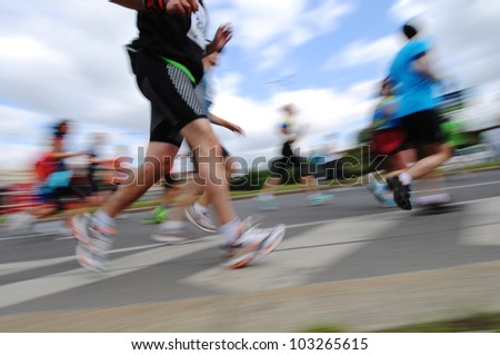 Group of Runners, emotional blurred image - stock photo