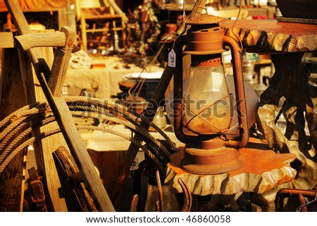 Group of rustic items for sale - stock photo