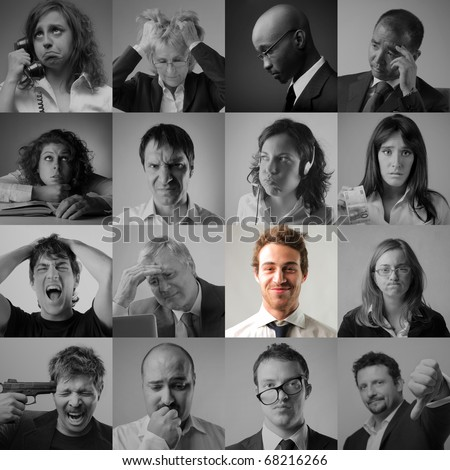 group of sad people and a  happy man - stock photo