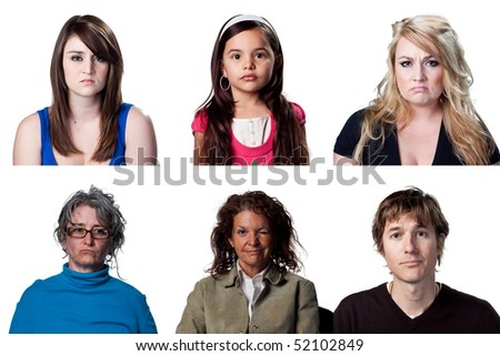 Group of sad people, six isolated images, full size
