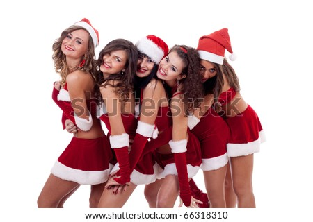 group of santa women in a big group hug, over white