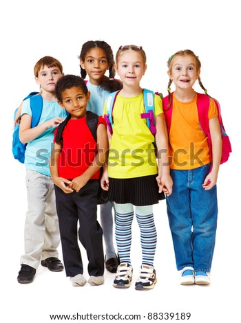 Group of school aged and preschool kids - stock photo
