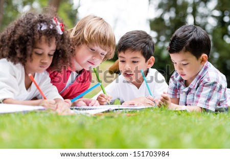 Group School Kids Coloring Outdoors Looking Stock Photo (Royalty ...