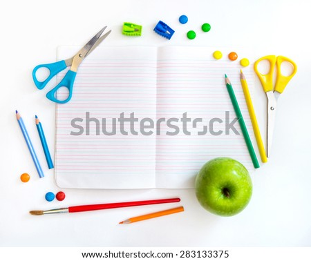 Group of school objects on a white background isolation - stock photo