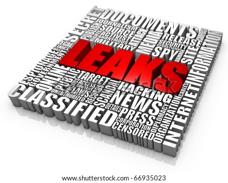 Group of secret document leak related 3D words. Part of a news series. - stock photo