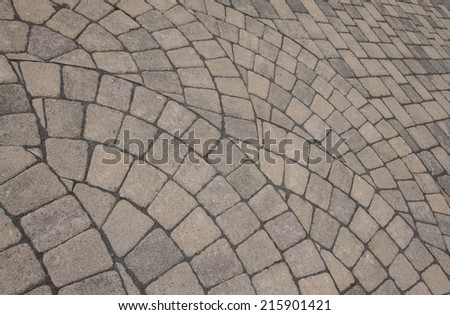Group of semi circle patterns of pavers for background. - stock photo