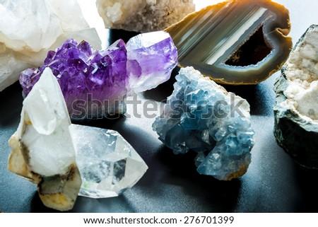 Group of semi precious stones - stock photo