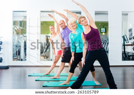 Group of senior people and young woman and men in fitness gym doing gymnastics  - stock photo