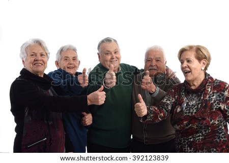 Group of  senior people with ok sign - stock photo