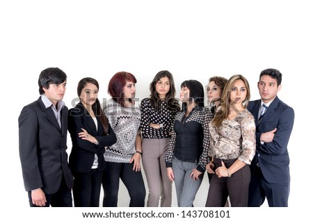 Group of serious hispanic business people - stock photo