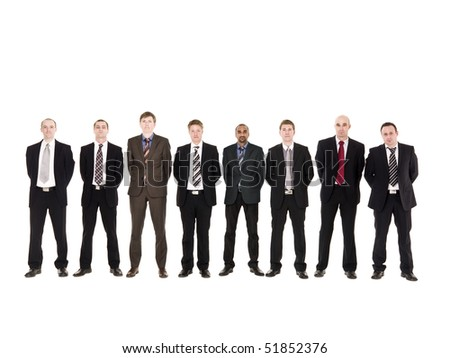Group of serious men in a row - stock photo