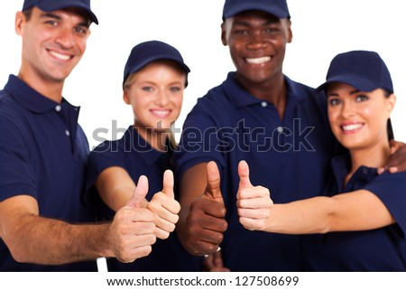 group of service staff thumbs up on white - stock photo