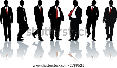 Group of seven powerful businessmen