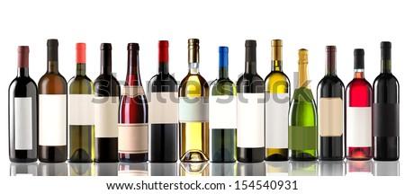 Group of several bottles on white - stock photo