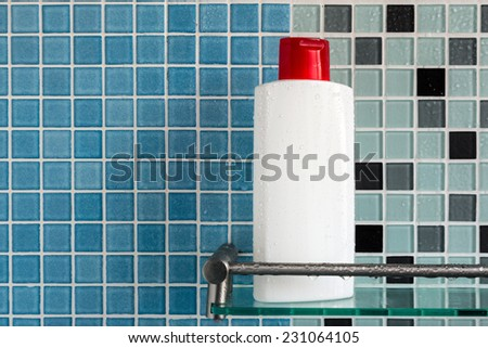 Group of shampoo bottles in a bathroom - stock photo