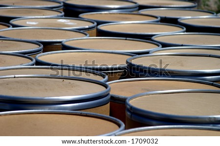 Group of shipment barrels.