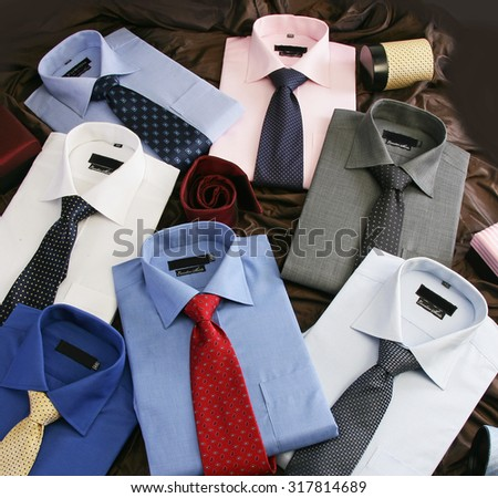 Group of Shirt with Ties - stock photo