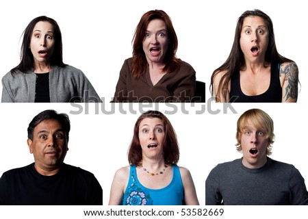 Group of shocked people reacting to the camera - stock photo