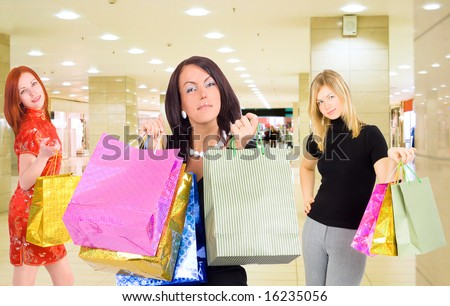 "Group of shopping girls in a mall -  of  ""Shopping women"" multiple series in studio's portfolio"