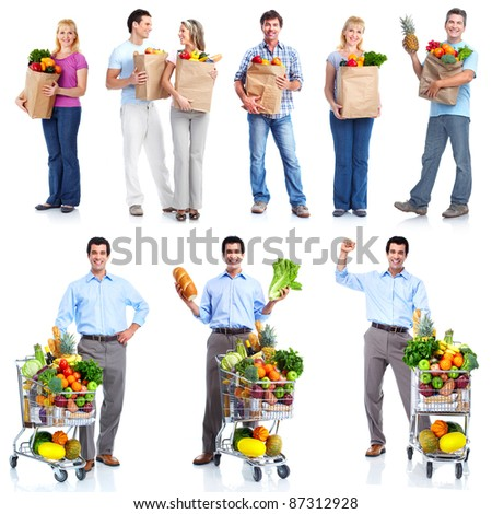 Group of shopping people with vegetables and fruits. Isolated over white background. - stock photo