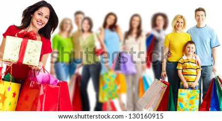 Group of shopping woman. Isolated on white background. - stock photo