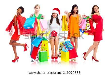 Group of shopping women isolated white background. - stock photo