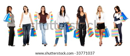 Group of shopping women standing isolated over white