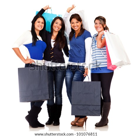 Group of shopping women with bags - isolated over white