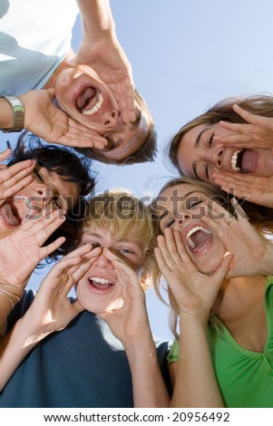 group of shouting kids - stock photo