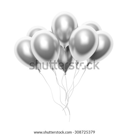 Group of silver blank balloons isolated on white background - stock photo