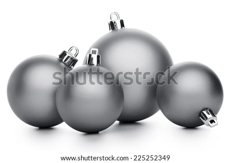 Group of silver christmas balls isolated on white background - stock photo
