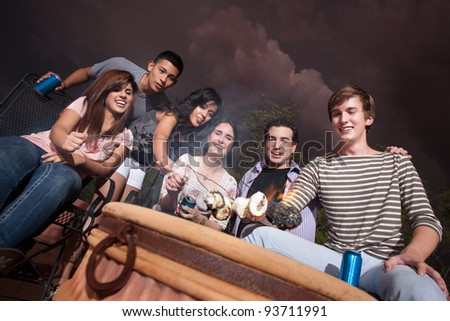 Group of six diverse teenagers roast marshmallows outside - stock photo