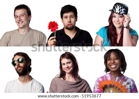 Group  of six happy actors, all full size images - stock photo