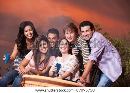 Group of six happy friends with drinks at a cookout - stock photo