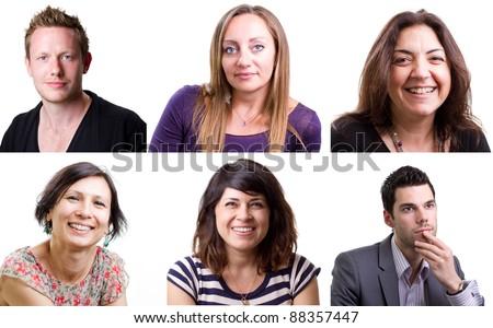 Group of six happy isolated people - stock photo