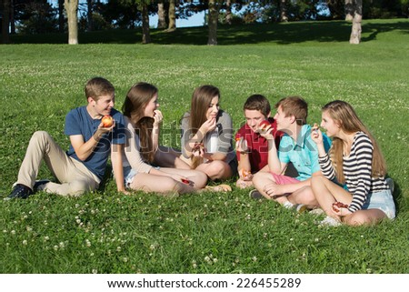Group of six happy teenagers eating healthy snacks - stock photo