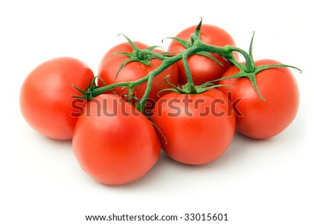 Group of six red fresh tomatoes