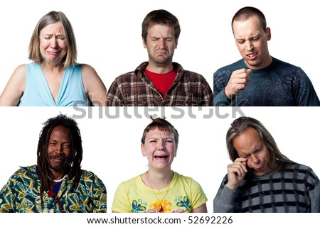 Group of six sad, crying individuals - stock photo