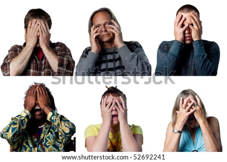 Group of six scared adults hiding their faces