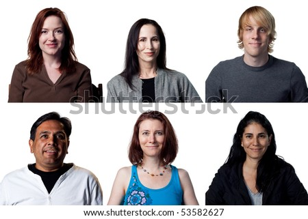 group of six smiling expressions from diverse group of people - stock photo