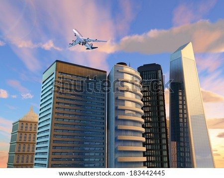 Group of skyscrapers over a gorgeous sky background. Digital illustration. - stock photo