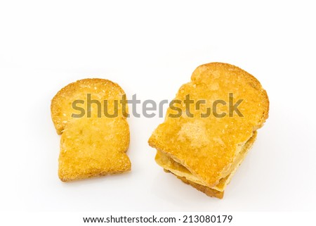 Group of sliced bread on white background.