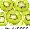 Group of slices  kiwi fruit - stock photo