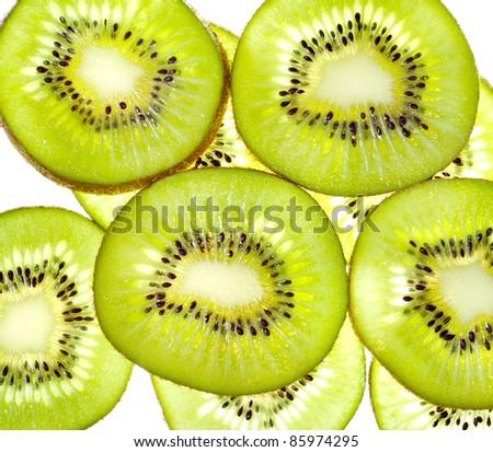 Group of slices  kiwi fruit - stock photo