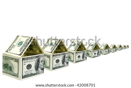 Group of small houses of 100 dollar denominations