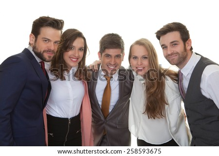group of smart happy young business team - stock photo