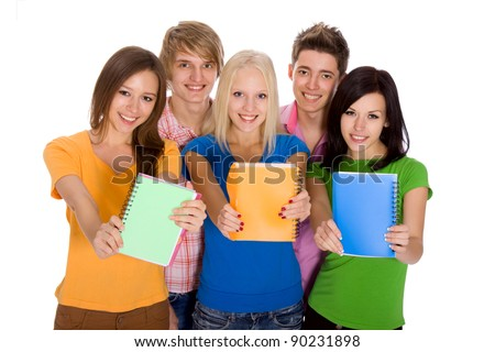 Group of smile students with arms up holding notebooks - isolated over white background, happy teenagers smiling and looking at camera. top angle view - stock photo
