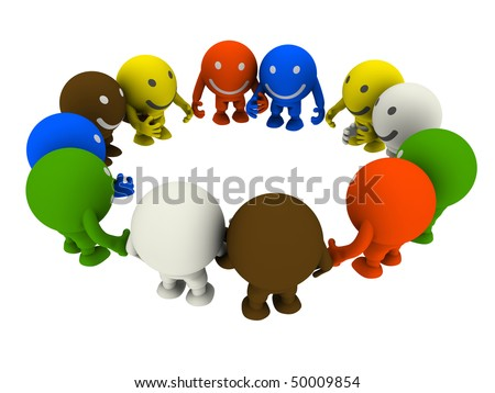 Group of smileys, holding hands, standing in a circle - stock photo